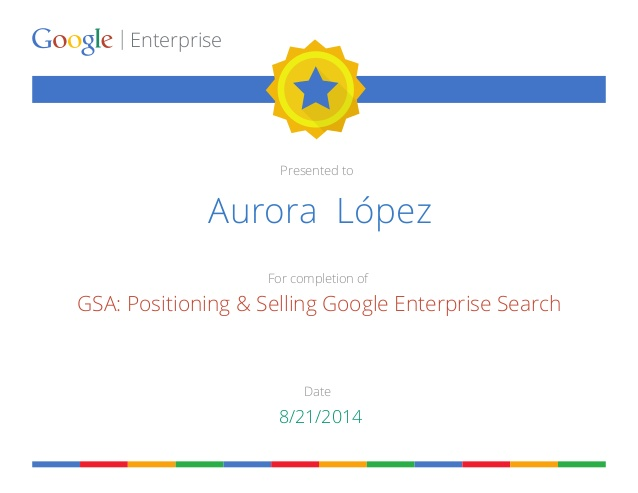Certificate of Google Partner University Google Enterprise training…