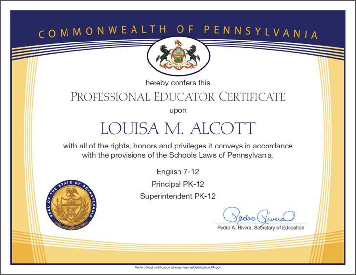 Frameable Teacher's Certificates