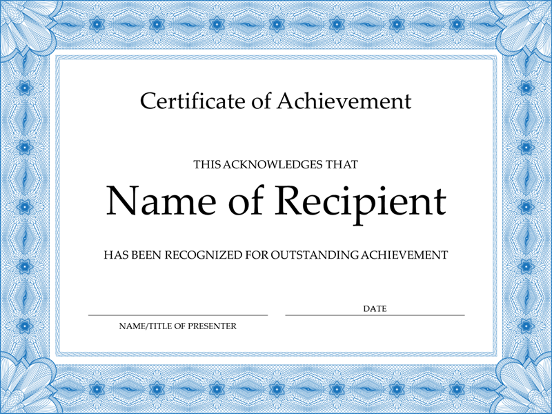 Certificate of achievement (blue) Office Templates