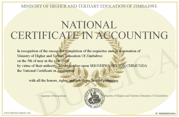 National Certificate in Accounting