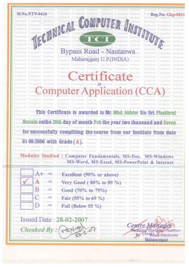 Certificate In Computer Application Certificates Templates Free