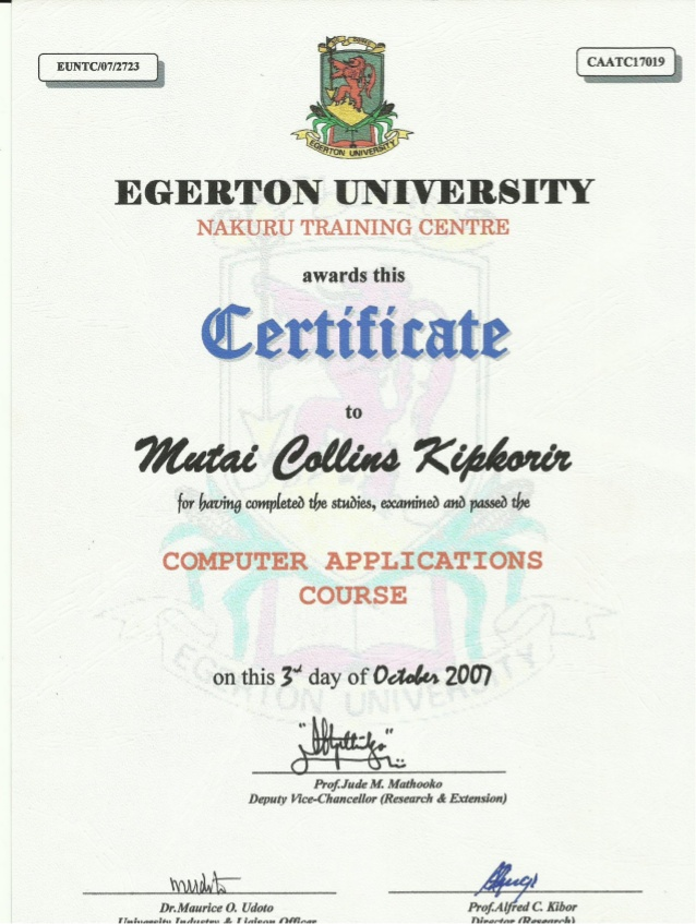 Application Certificate