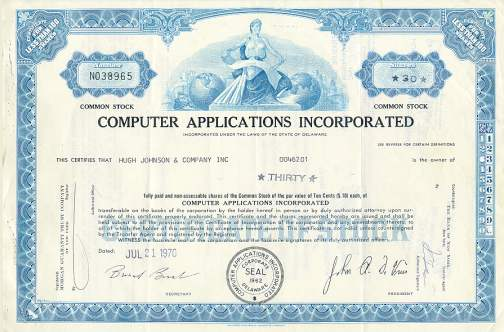 Computer Applications Incorporated (CAI) Stock Certificate 1970