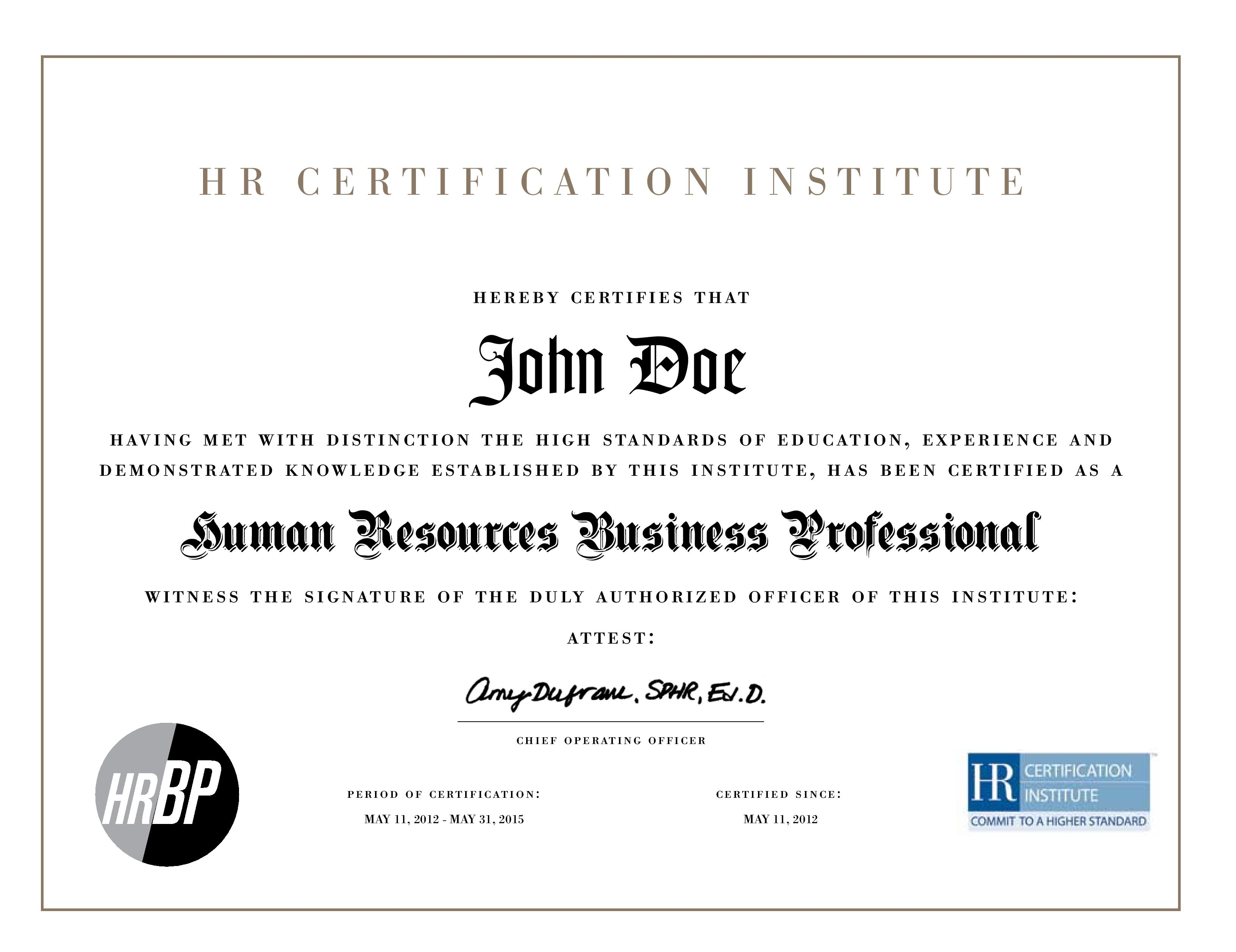 The Japan HR Society (JHRS) HR Certification