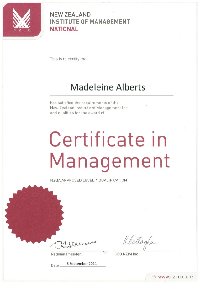 certificate in management 1