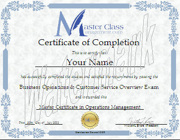 Business Management Certification Course Certificate of Completion