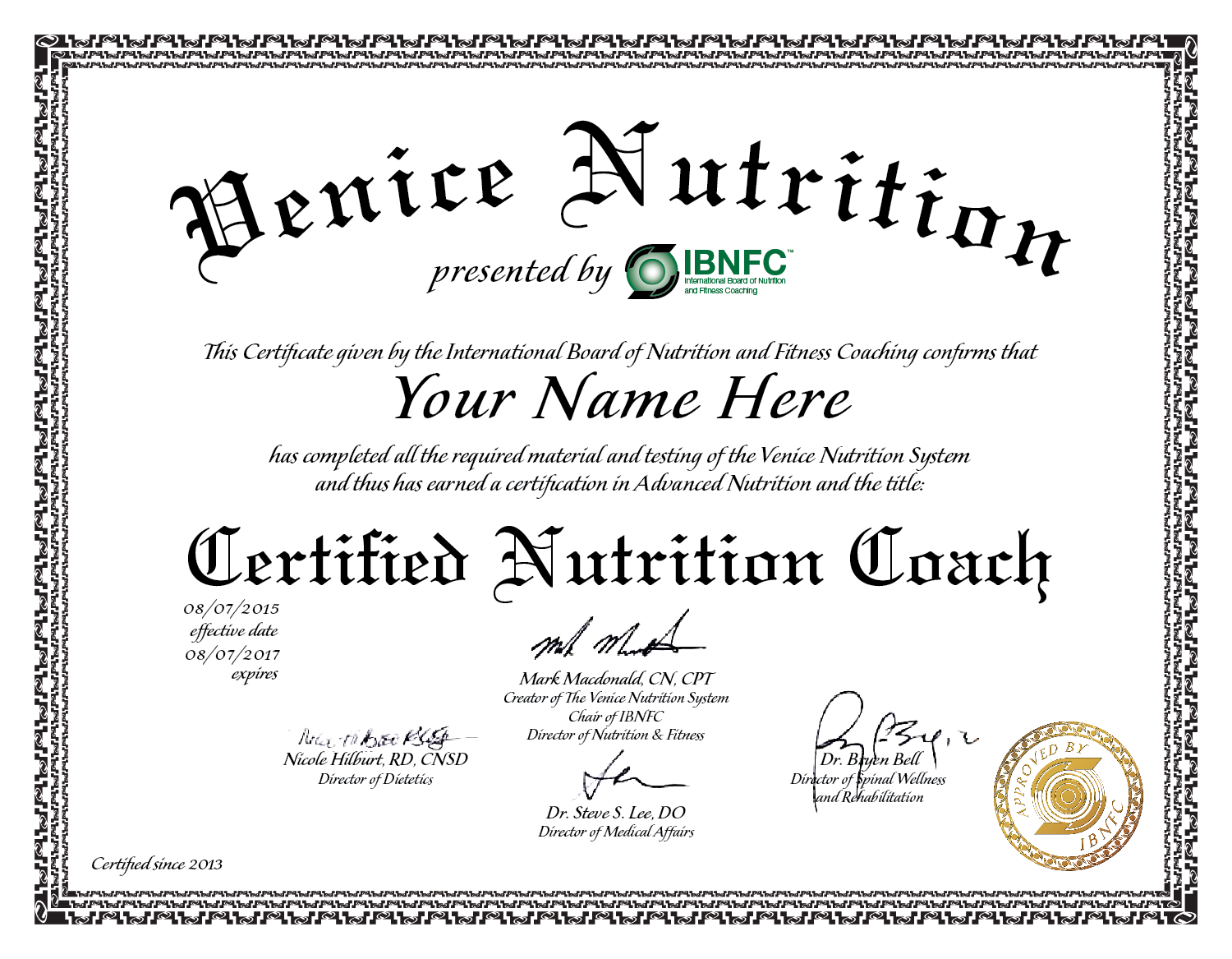 Certificate In Nutrition Certificates Templates Free