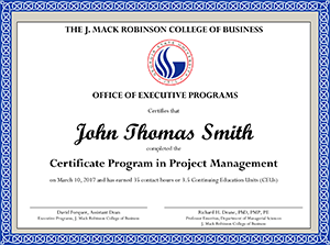 Certificate in Project Management Executive Education