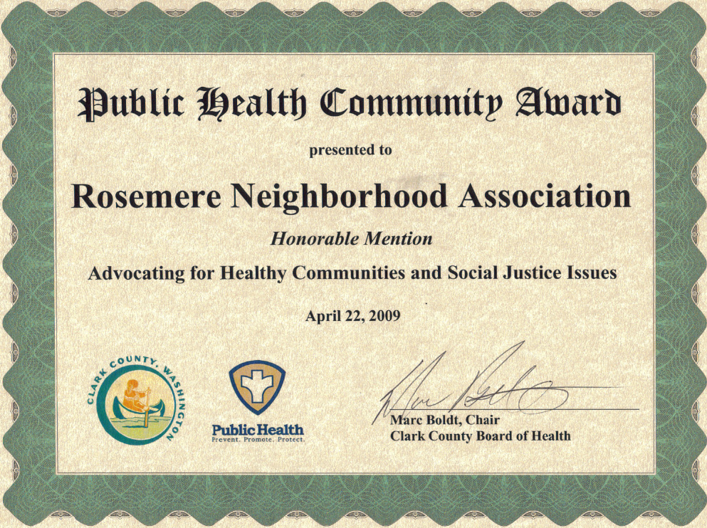 Rosemere Neighborhood Association Honored with Public Health