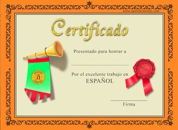 Spanish Certificate | Spanish, Teaching spanish and Classroom
