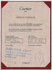 CARTIER Jewellery 18k Gold Certificate Certificat Jewelry Love