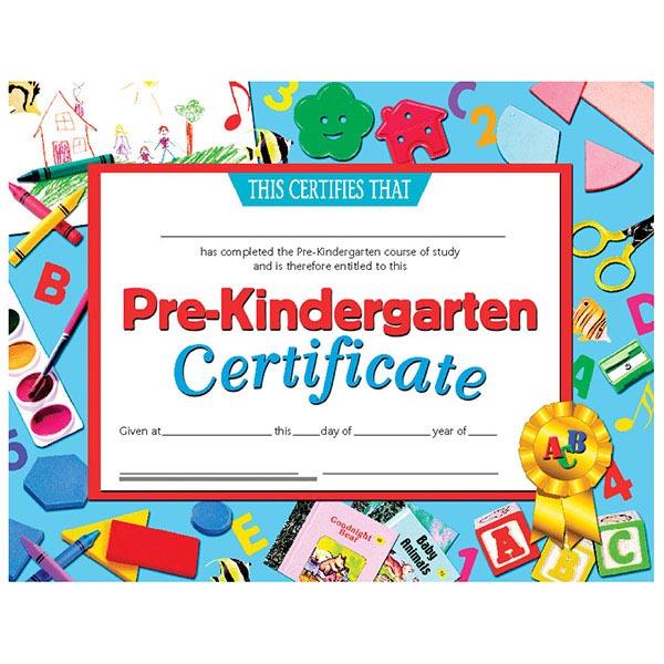 Hayes Publishing VA699 Pre Kindergarten Certificate | SCHOOLSin