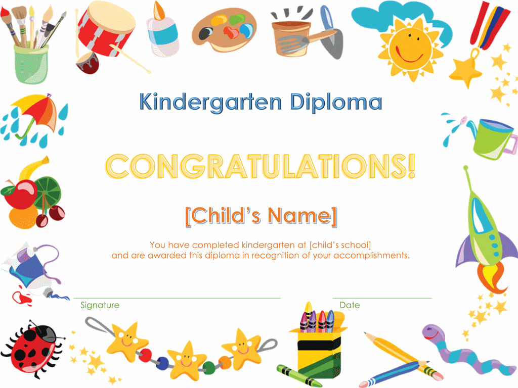 Certificates Kindergarten Certificate Awesome Animals