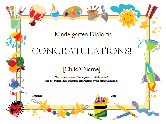Kindergarten diploma certificate Office Templates