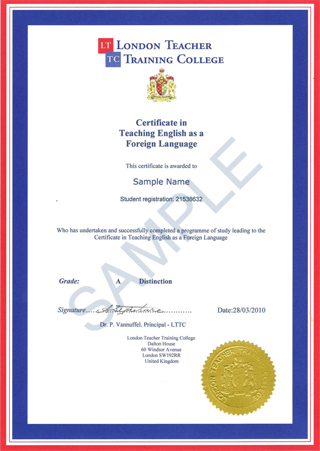 Sample Certificate in Teaching English as a Foreign Language