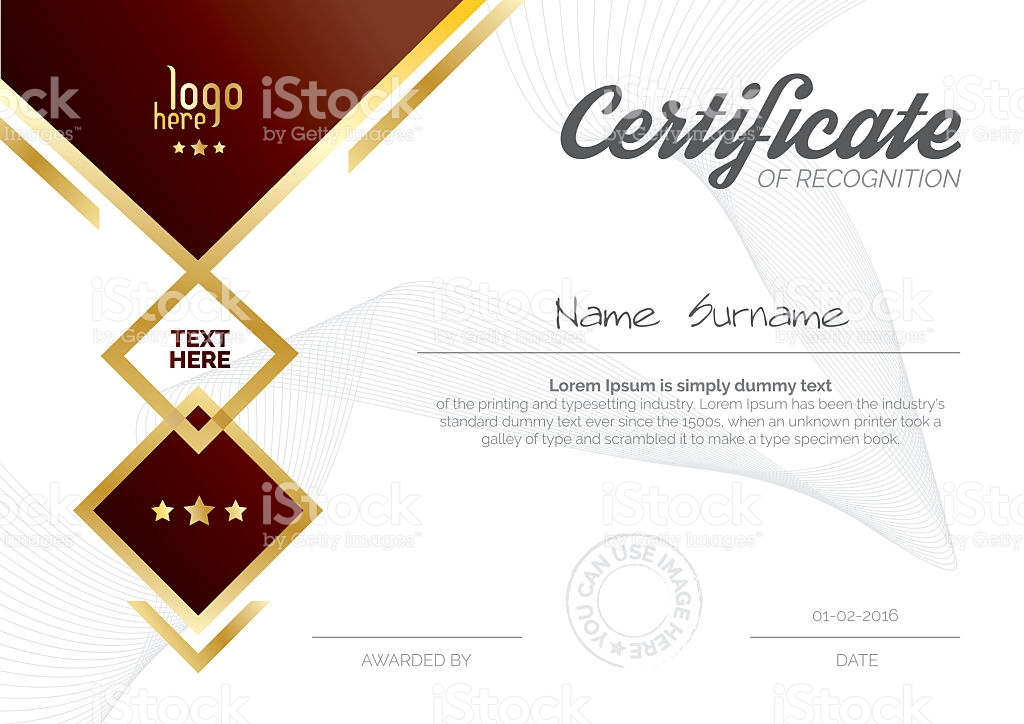 Certificate Templatediploma Layouta4 Size Vector Stock Vector