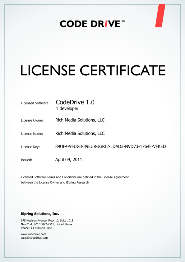 software license certificate template purchase codedrive download