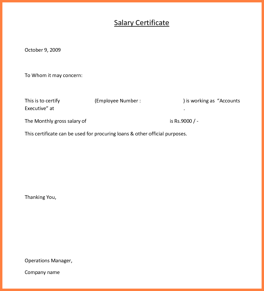 4+ application for salary certificate for loan | Salary Slip