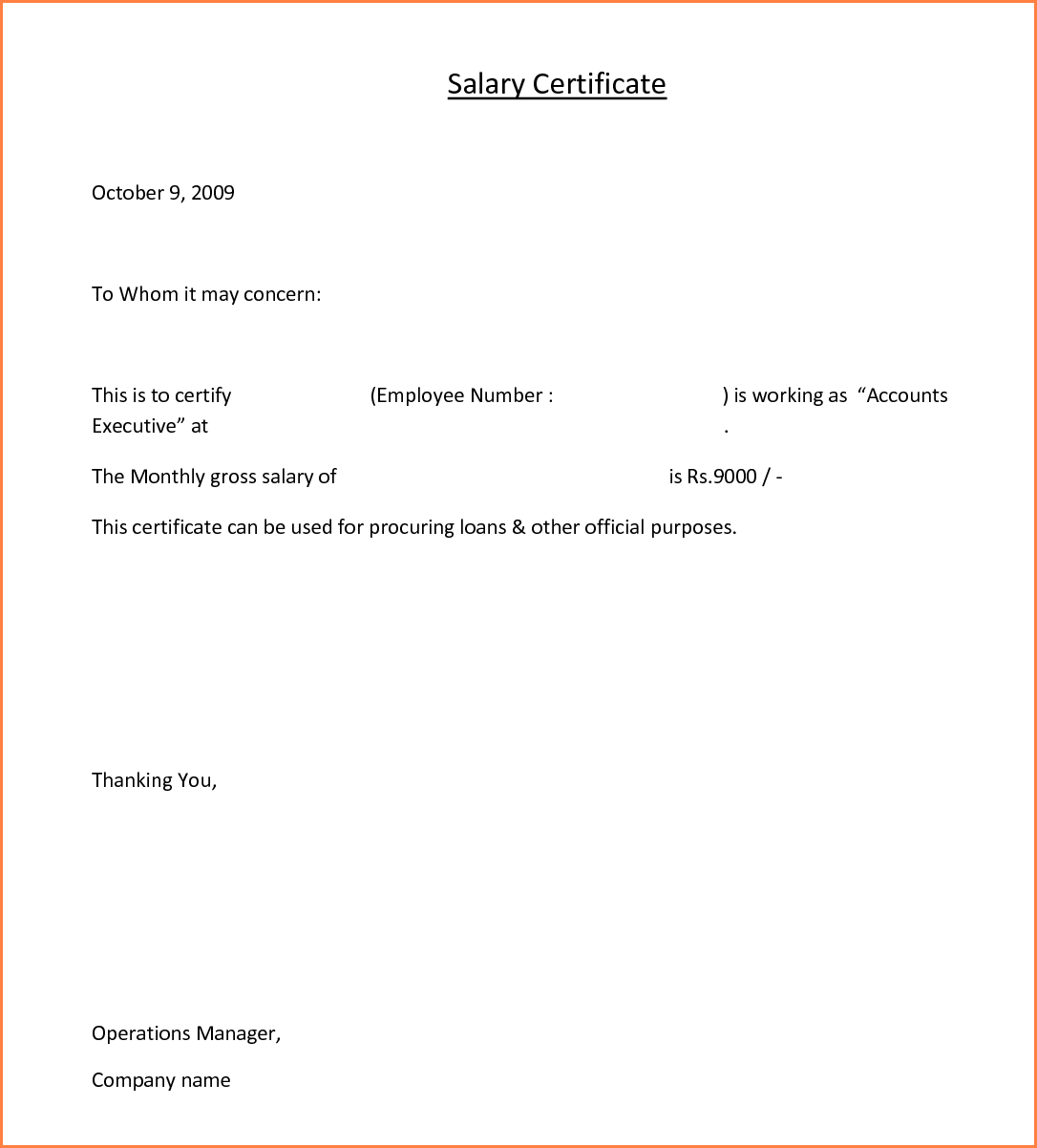 11+ format of salary certificate for bank loan | Sales Slip Template
