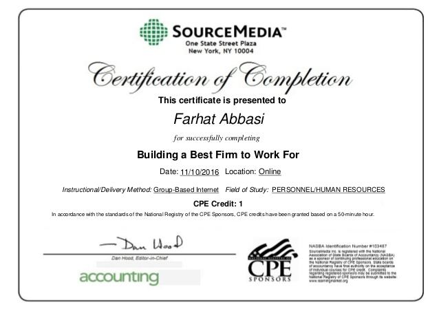Certificate of completion Building a Best Firm to Work For