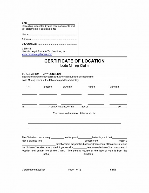 CERTIFICATE OF LOCATION (Lode Mining Claim) Nevada Legal Forms