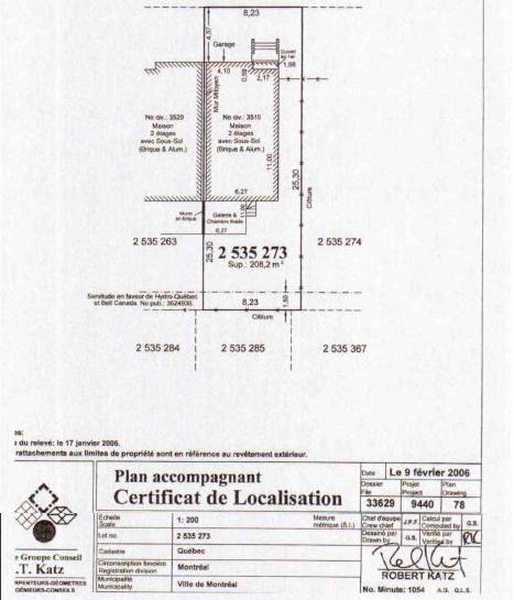 Irregular Certification of Location MONTREAL Real Estate