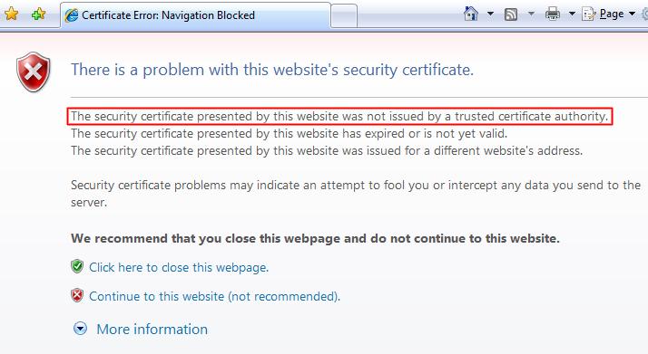 SSL Certificate Not Trusted Error