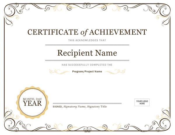 Certificate of Achievement Office Templates