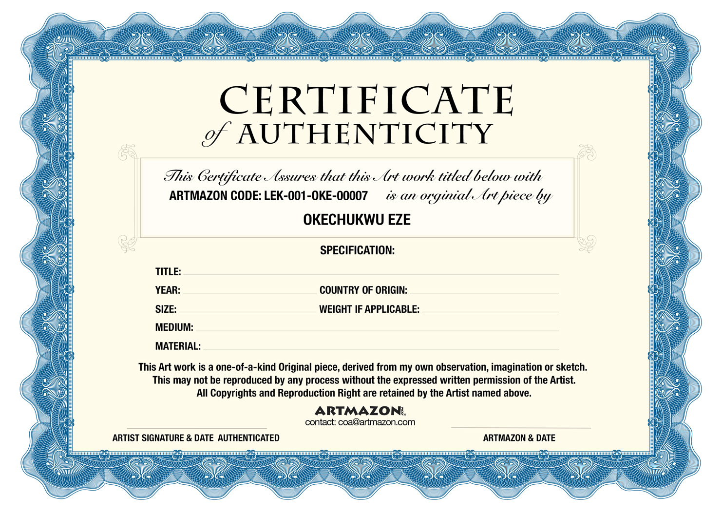 COA (Certificate of Authenticity)