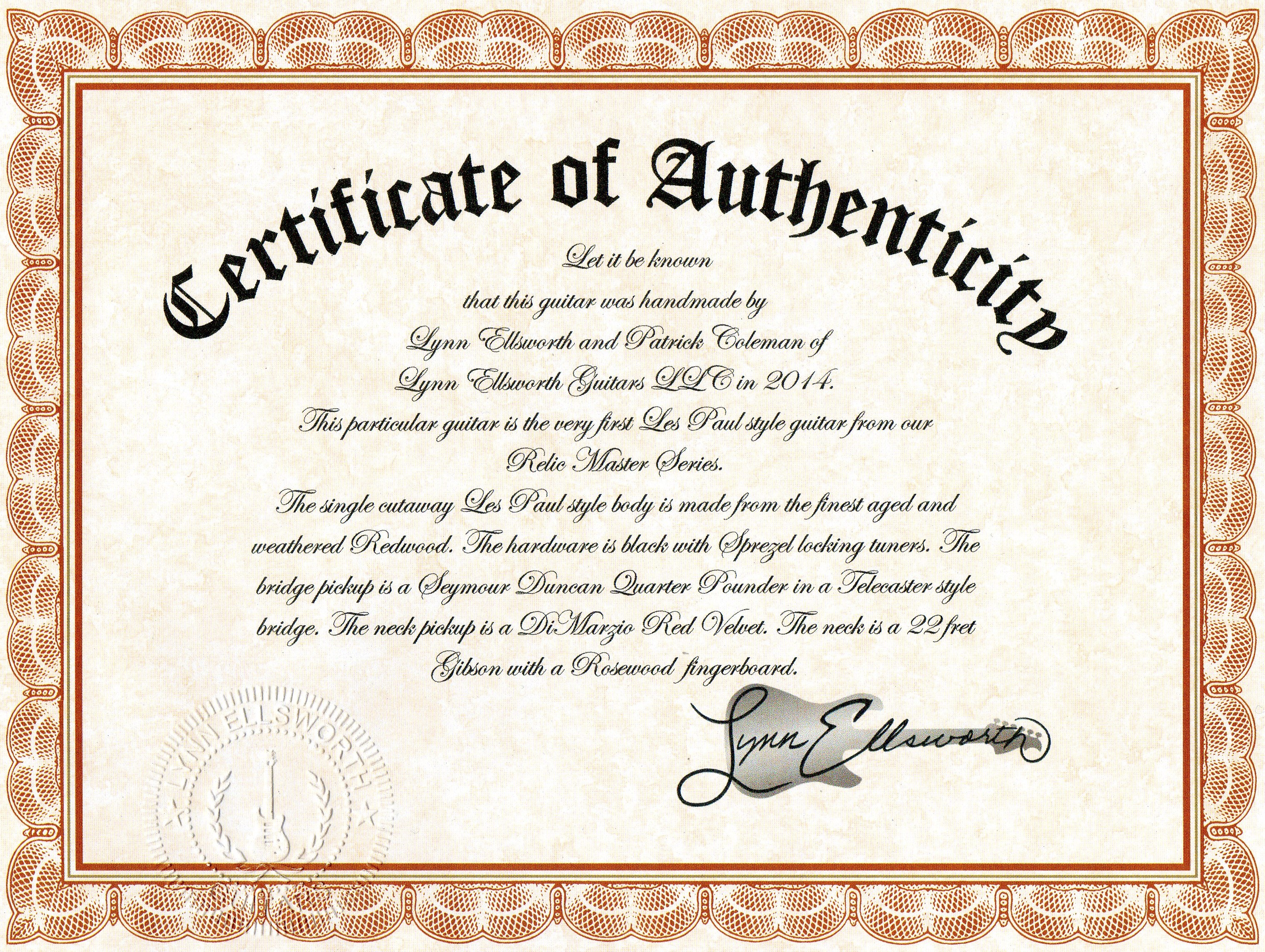 Certificate of Authenticity | Lynn Ellsworth Guitars