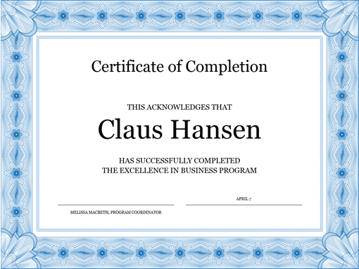 Certificate of completion (blue) Office Templates
