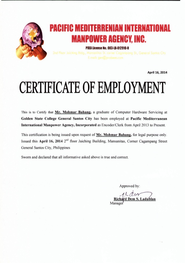 certificate of employment  u2013 certificates templates free