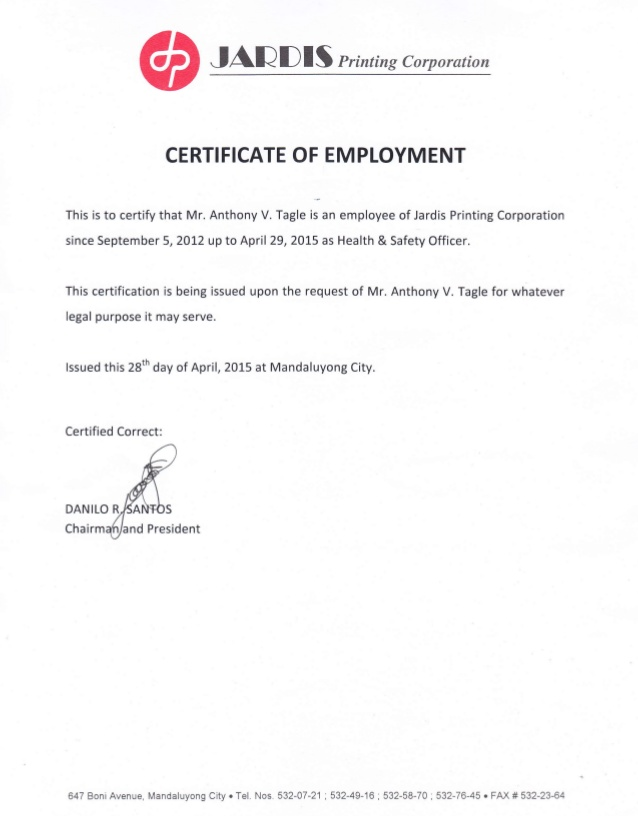 Certificate Of Employment | certificates templates free