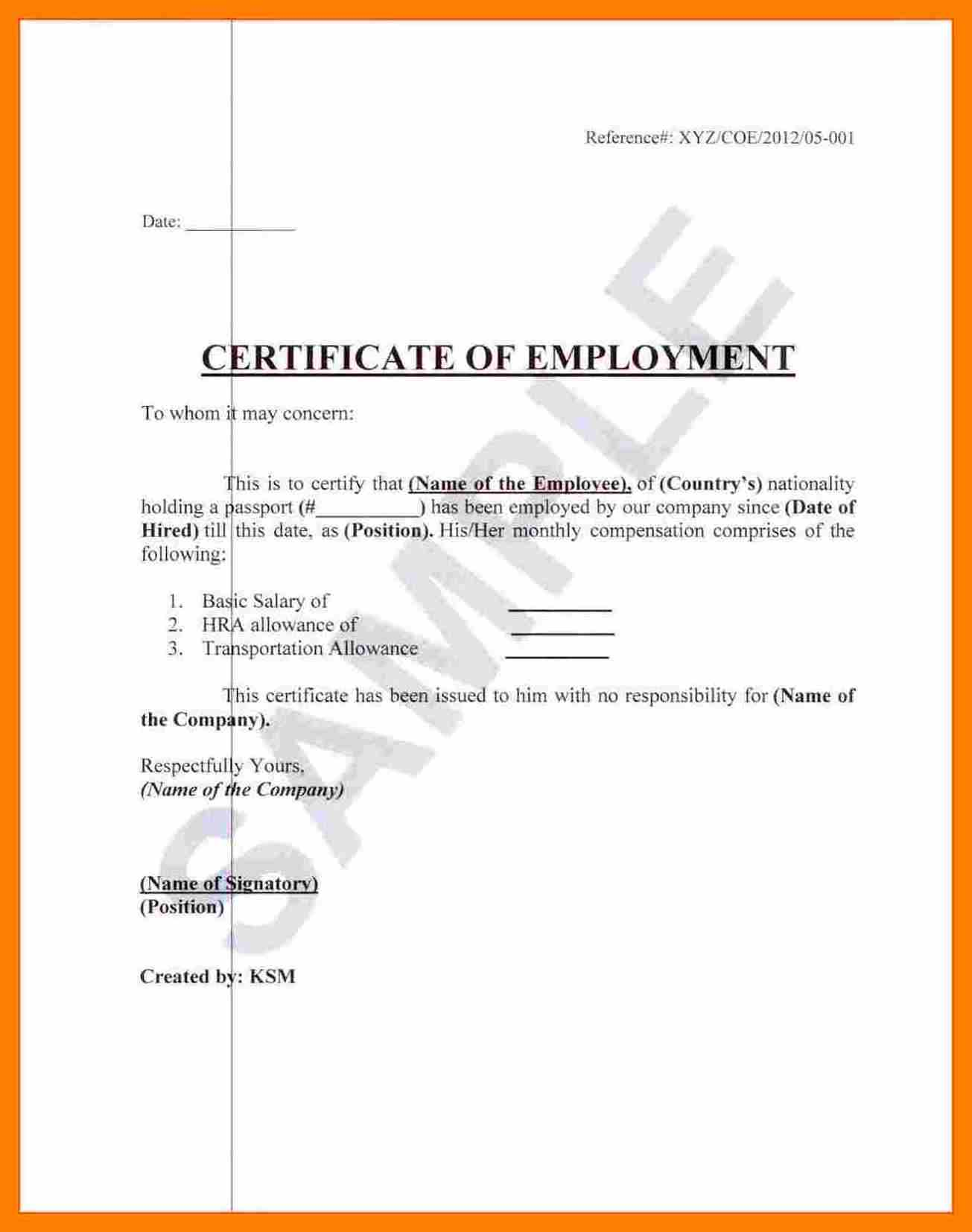 21+ Sample Certificate of Employment Templates Free Sample