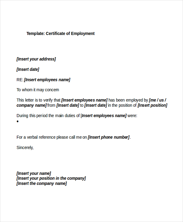 Sample Certificate Employment Factory Worker: Certificates Templates Free