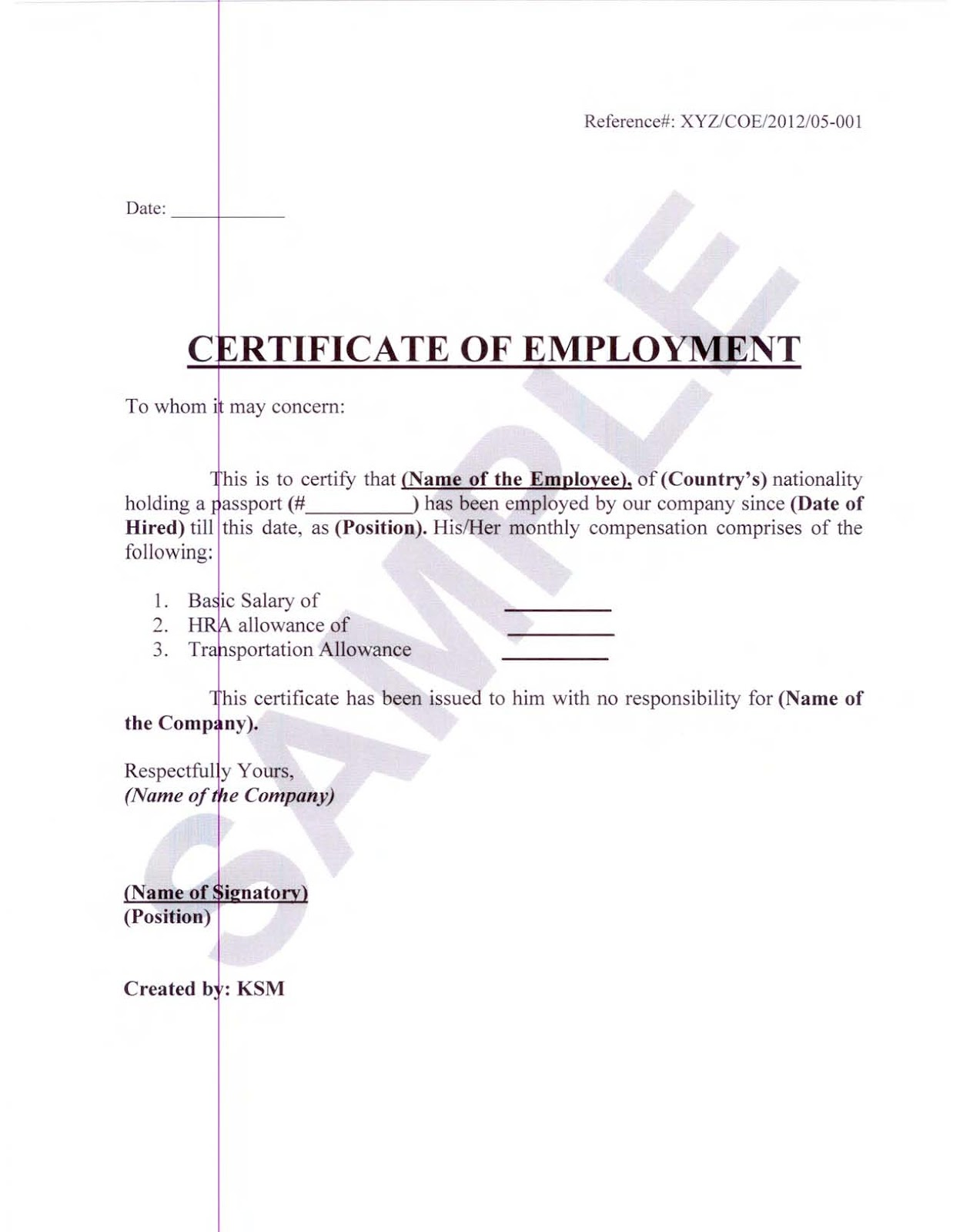 certificate of employment format certificate of employment sample