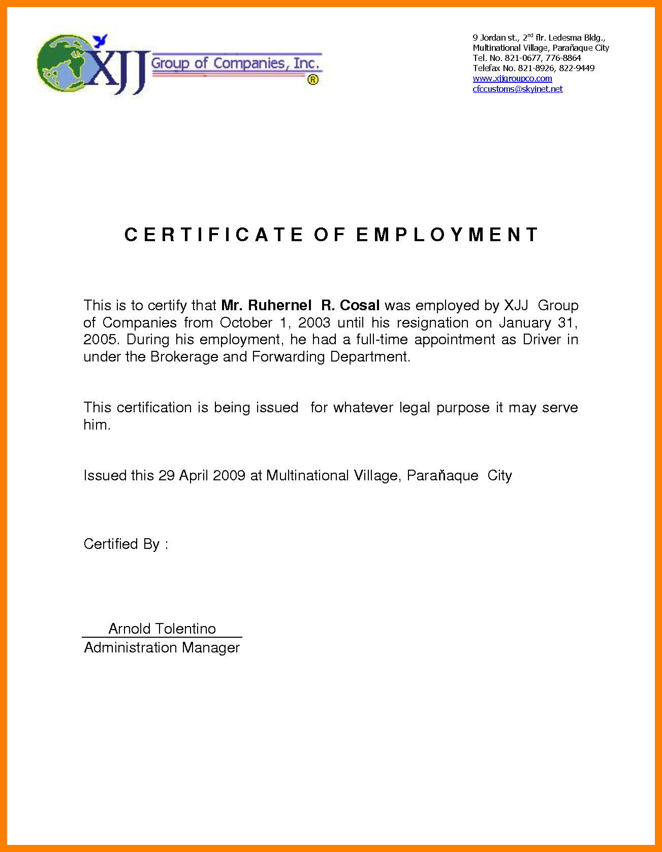 certificate of employment sample  u2013 certificates templates free