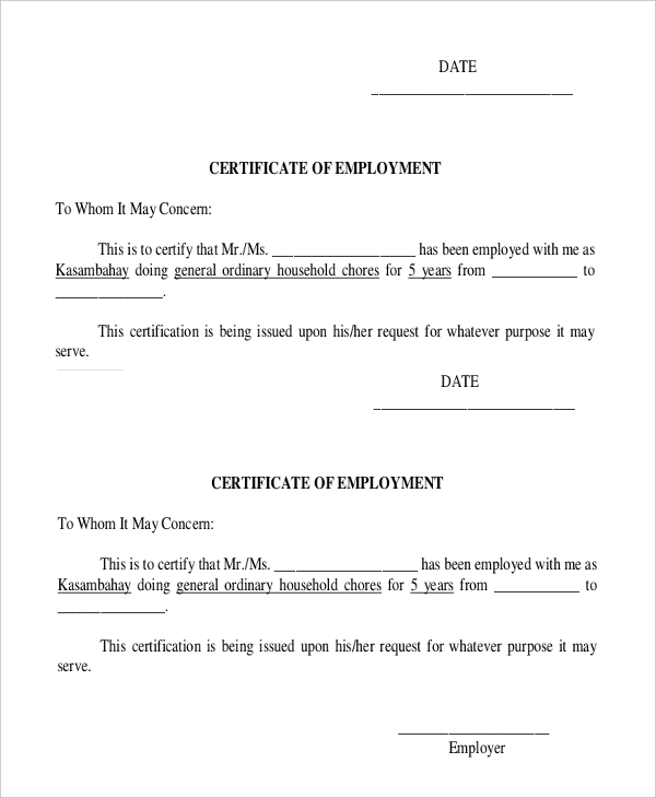 Request Letter Format For Certificate Of Employment Choice Image