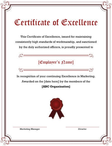 certificate of excellence template editable - certificate of excellence certificates templates free