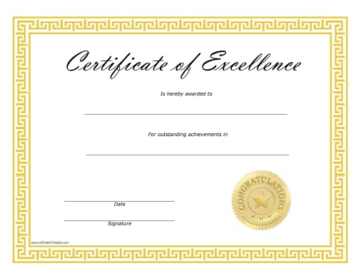 Certificate of Excellence Free Printable AllFreePrintable.com