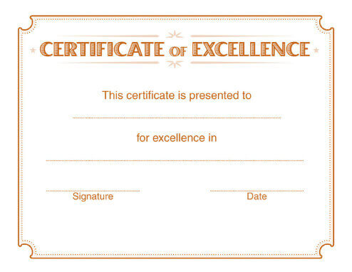 5 Free Printable Certificates of Excellence Templates