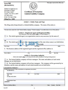 Form TX Certificate of Formation for a Limited Liability Company