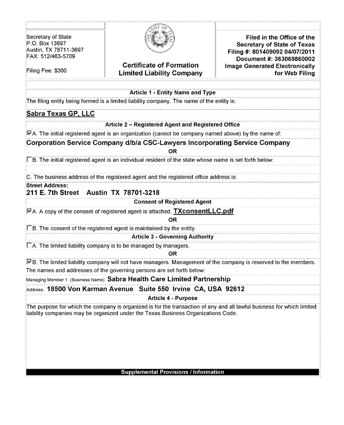 Certificate of Formation of Sabra Texas GP, LLC