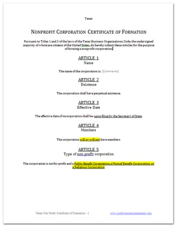 Free Texas Certificate of Formation nonprofit corporation