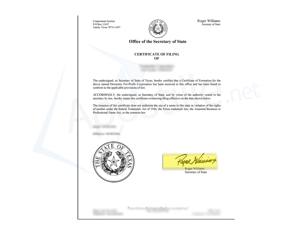 Texas Certificate of Good Standing | Online Corporate Docs, Inc.