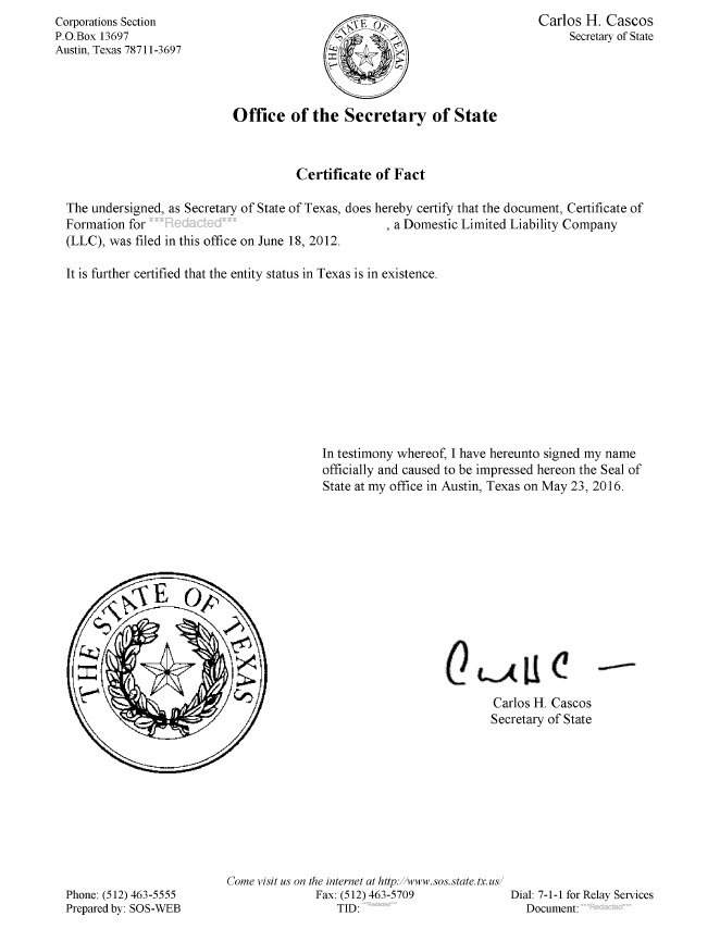 Texas Good Standing Certificate Texas Certificate of Existence
