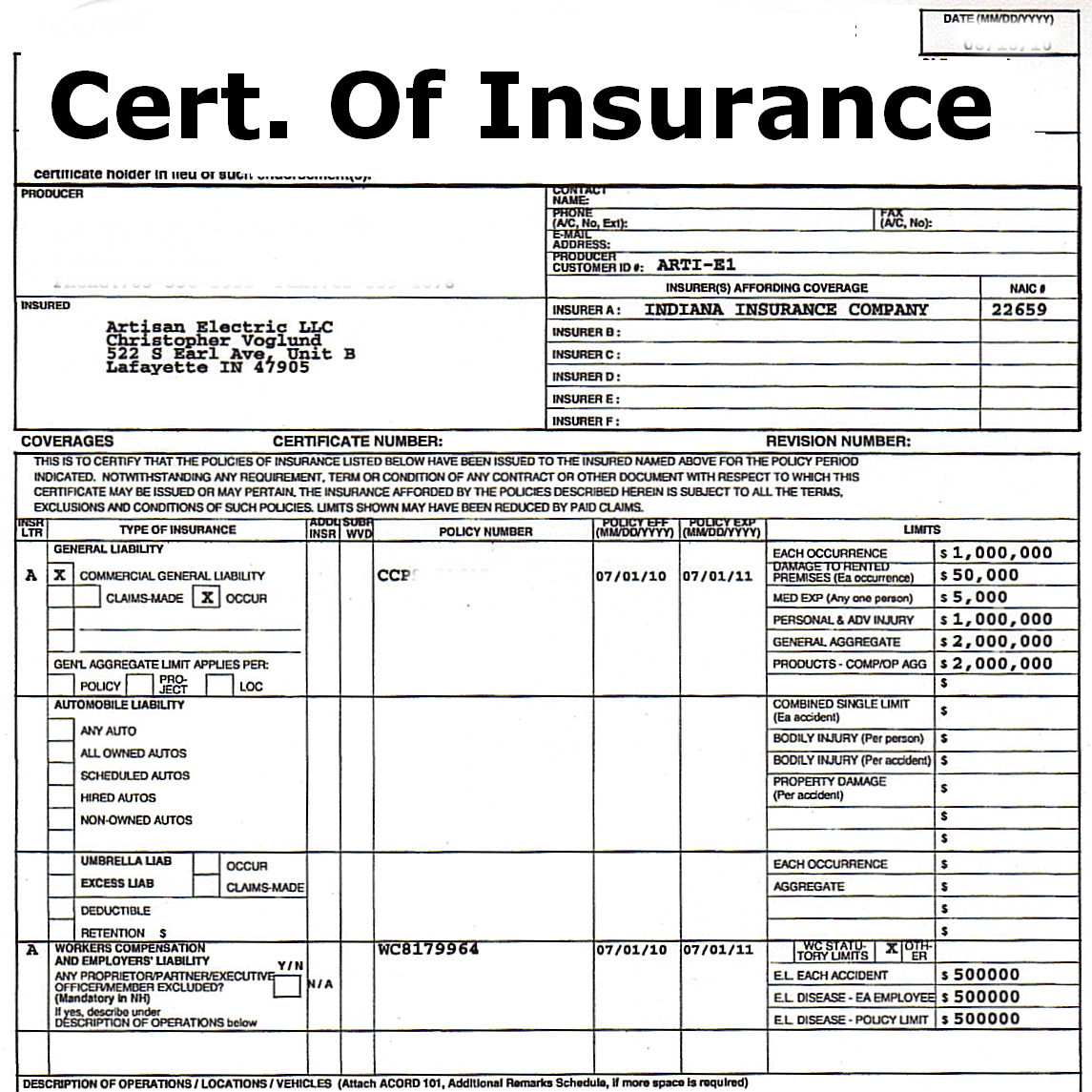 Certificate of Insurance Bounce About