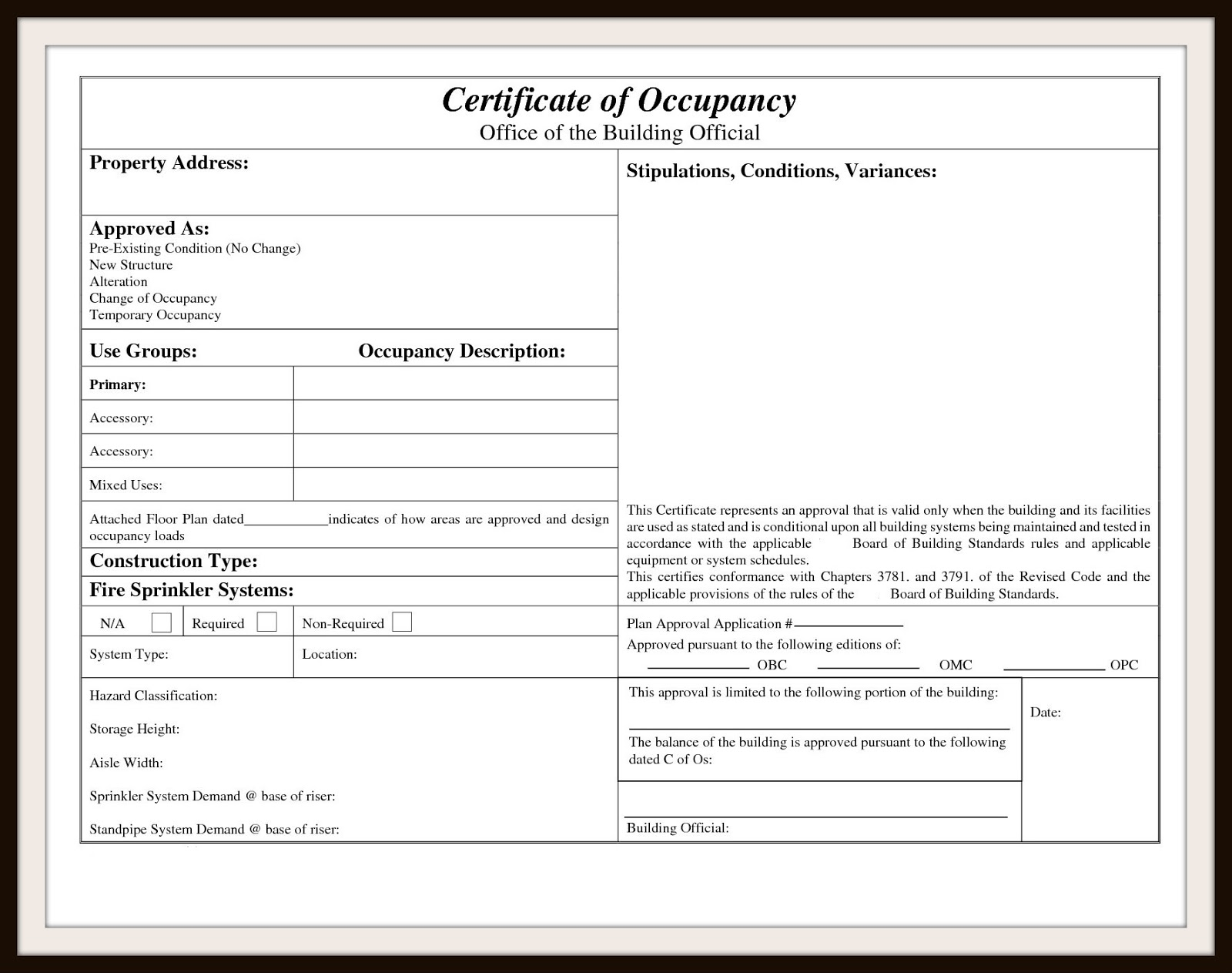 Sample Certificate Of Occupancy