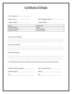 Certificate Of Origin  Certificate Of Origin Template Free