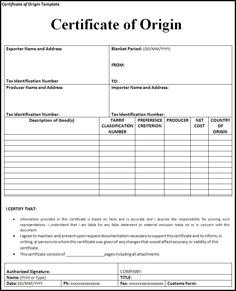 Certificate Of Origin – Europe Fulfillment